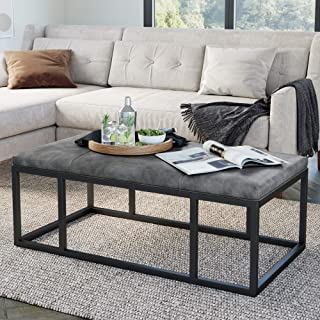Nathan James Nelson Coffee Table Ottoman, Living Room Entryway Bench with Faux Leather..
