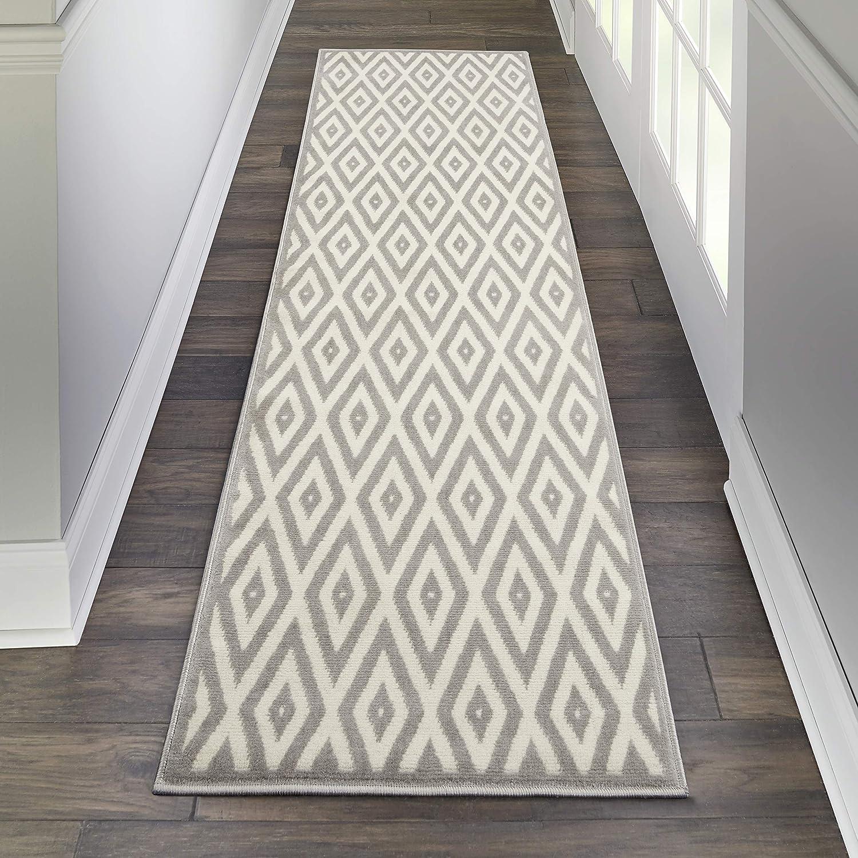 Nourison Grafix White/Grey Area Rug Runner, (2'x8')