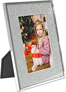 MIMOSA MOMENTS Mirror Silver Metal Christmas Picture Frame with Silver Glitter Mat(Silver & Silver Glitter, 4x6)