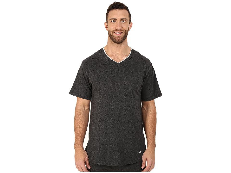 Tommy Bahama Big Tall Cotton Modal V-Neck Short Sleeve T-Shirt (Black Heather) Men