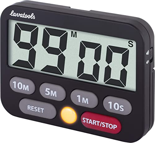Lavatools KT3 Kitchen Timer & Stopwatch, Large Digits, Loud Alarm, Mute Function, Quick-Set Buttons, Magnetic Stand (...