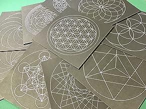 神聖幾何学模様 点描曼荼羅用台紙10種類10枚セット フラワーオブライフ シードオブライフ マカバ トーラス 十二角形 メタトロンキューブ ヤントラ スパイラル右 スパイラル左 マリア