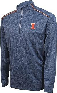 NCAA Illinois Illini Men's Quarter Zip with Shoulder Piping Polo, Large, Navy/Varsity Orange