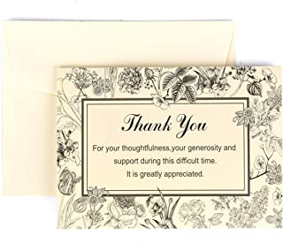Thank You Cards with Envelopes - 25 Pack For Funeral Sympathy Acknowledgement Notes Blank Inside For Photo or Personalized Message to Friends & Family