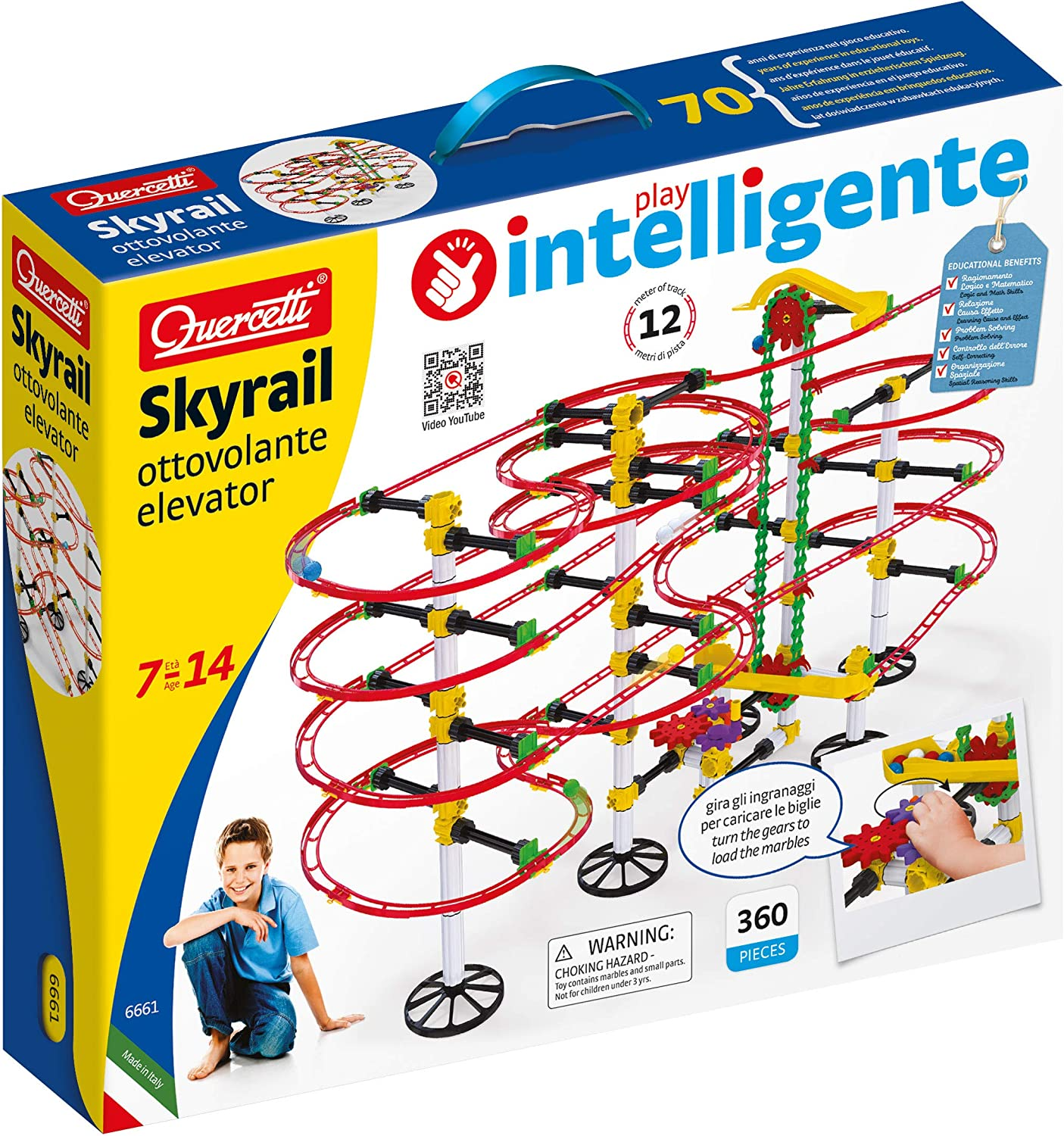 Quercetti Ranking integrated 1st place San Jose Mall Skyrail Ottovolante Elevator marbl Pieces 360 Playset