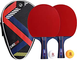 Clinch Star Table Tennis Ping Pong Professional Racket Paddle Set, 3 Star Balls and Organizing Carry Case