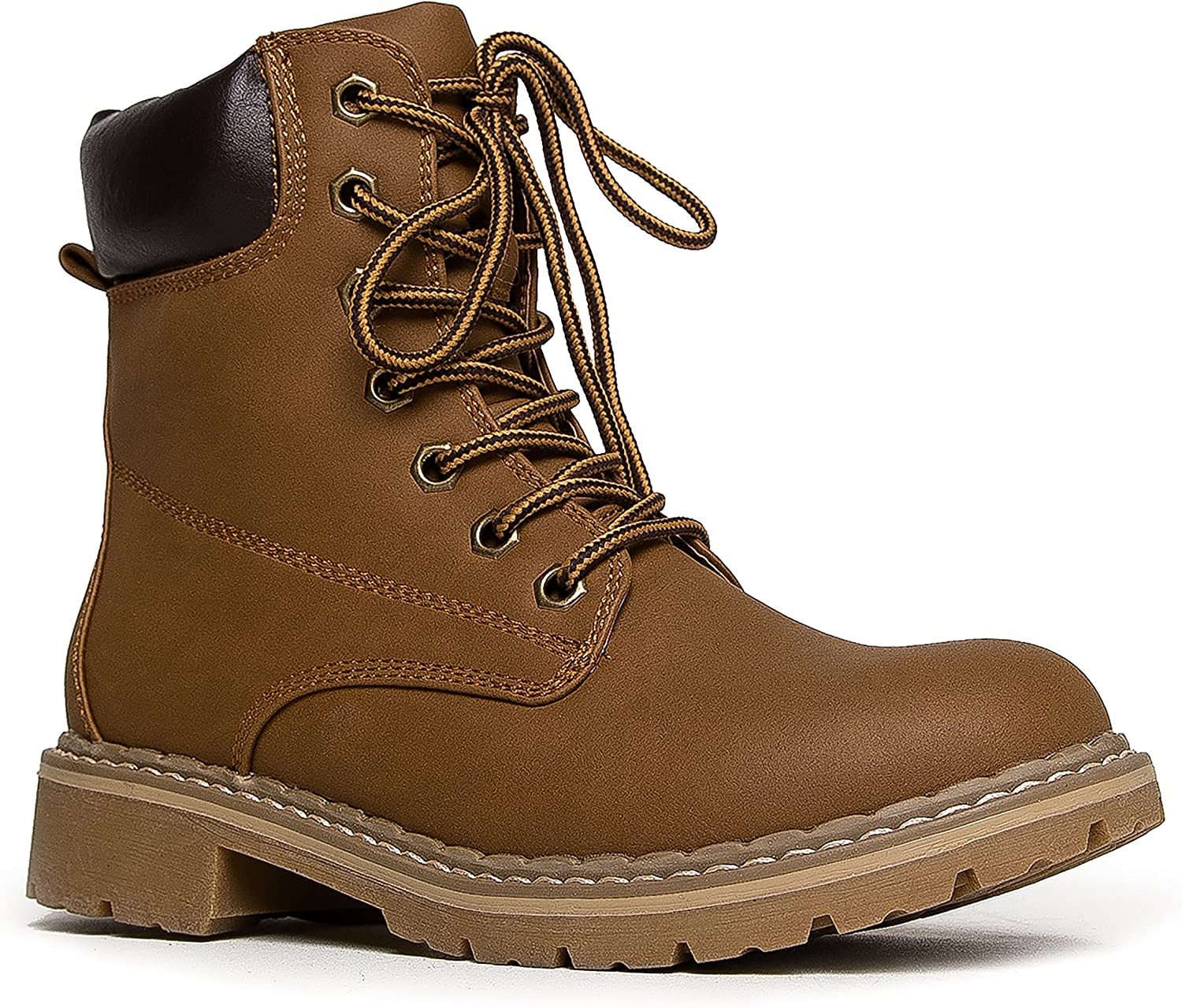 J. Adams Lace Up Combat Boot – Casual Outdoor Slip On Ankle Bootie – Military Mid Calf Fashion Round Toe Shoe - Trek