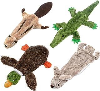 Best Pet Supplies 2-in-1 Fun Skin Stuffless Dog Squeaky Toy (Wild Duck, Hare, Squirrel, Alligator Bundle), small (PT07-08-...