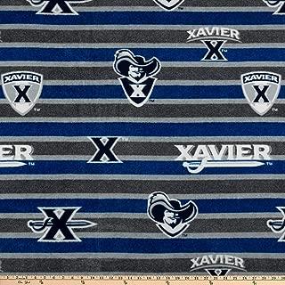 Sykel Enterprises Collegiate Fleece Xavier Polo Stripe Fabric, Blue/Grey, Fabric By The Yard