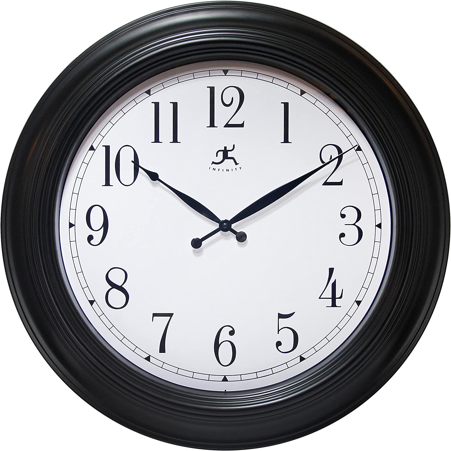 Infinity Instruments 24 Inch Latest item Genuine Clock Black Wall Traditional
