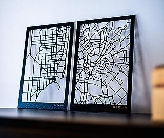 Mapa de madera cortado a laser personalizado con cualquier ciudad del mundo.