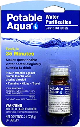 Potable Aqua Water Purification Treatment (50 Tablets) - Portable Drinking Water  Treatment Ideal for 407c46f7e