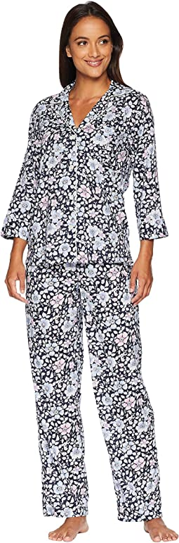 Classic Woven 3/4 Sleeve Pointed Notch Collar Pajama Set