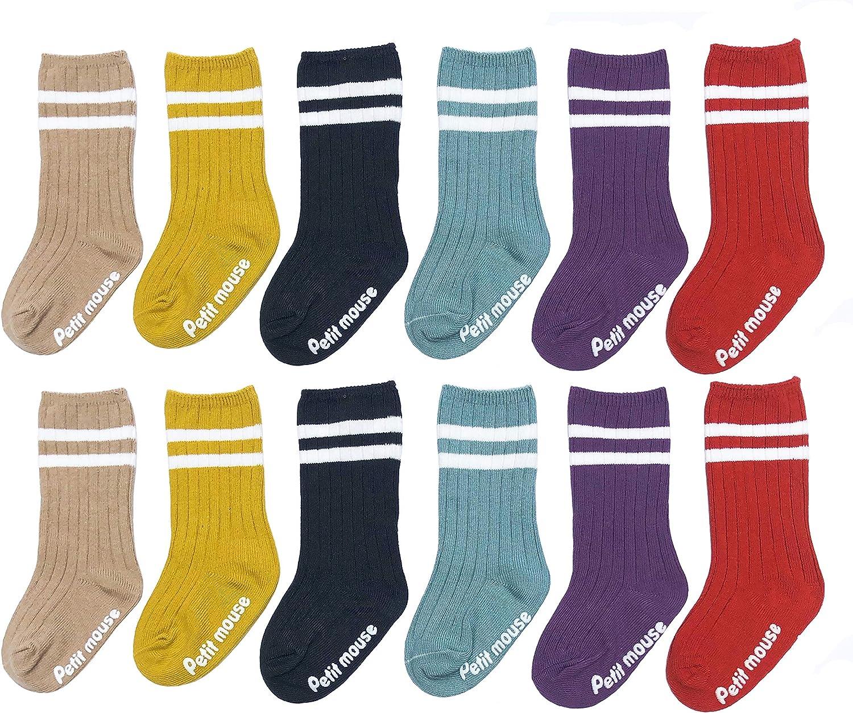 JEIIN Baby Socks with Grips Newborn Toddler Non-Skid Cotton Crew Socks