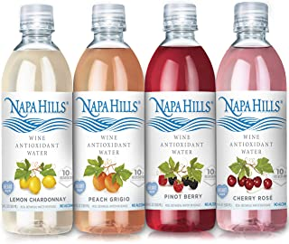 Napa Hills Wine Antioxidant Water - Variety Pack of Flavored Wine Water, Non-Alcoholic Resveratrol Enriched Drink - 12 Pac...
