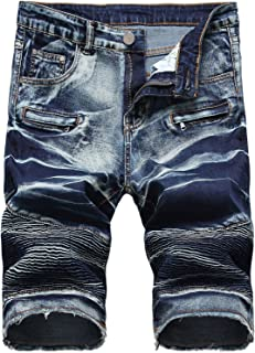 Men's Denim Shorts with Zipper Deco