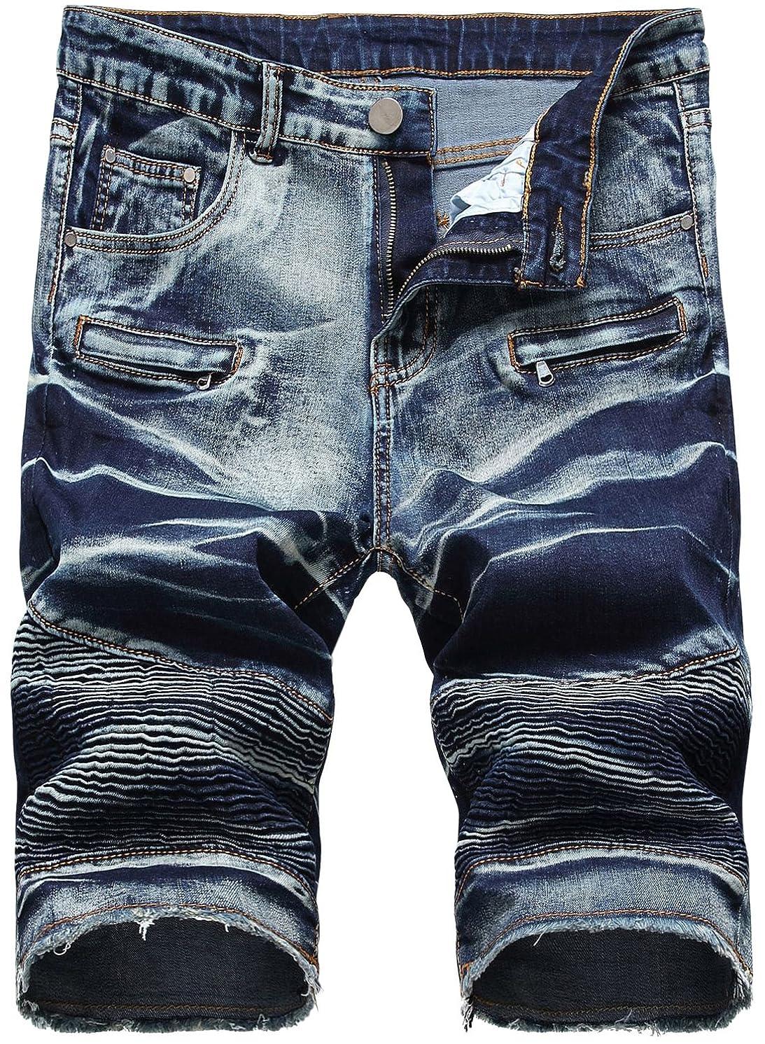 HENGAO Men's Denim Shorts with Zipper Deco