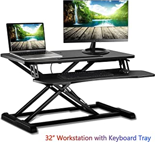 """IMtKotW Standing Desk Converter Stand Up Desk Riser Sit Stand Desk Tabletop Workstation Fits Dual Monitors 32"""", Two Tiered Height Adjustable Workstation with Removal Keyboard Tray, Black"""