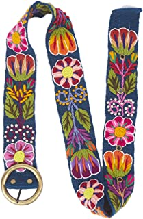 Raymis Womens 100% Alpaca Wool Handmade Fair Trade Belt with Colorful Embroidered Flowers