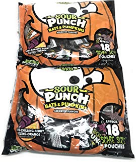 Sour Punch Bats and Pumpkins Assorted Flavors, 9 oz Bags, Pack of 2