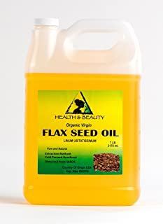 Flax Seed Oil Unrefined Organic Carrier Virgin Cold Pressed Raw Pure 128 oz, 7 LB, 1 gal