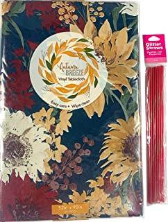 Elrene Fall Harvest Flannel Vinyl Tablecloth: Colorful Contemporary Thanksgiving Turkey Pumpkin Sunflower Greetings with H...