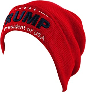The Hat Depot Exclusive 3D Trump Skull Knit Beanie Cap 45th President Inauguration