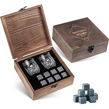 Whiskey Stones and Glass Set - 8 Granite Chilling Whisky Rocks – 2 Crystal Shot Glasses in Wooden Box – Premium Bar Accessories for the Best Tasting Beverages