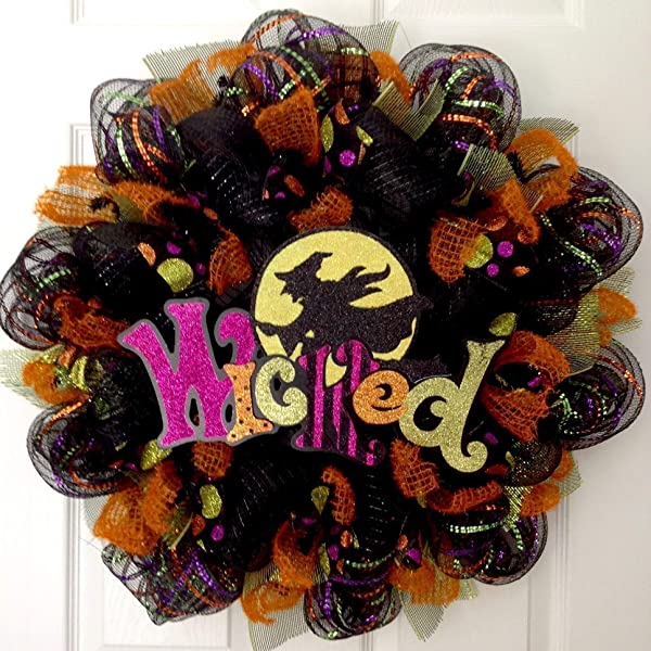 Wicked Witch Handmade Halloween Deco Mesh Wreath