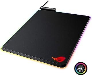 华硕 ROG Balteus 垂直游戏鼠标垫,带硬?#39280;⑽评?#28216;戏表面,USB 传递,Aura Sync RGB 照明和防滑底座(12.6 英寸 X 14.6 英寸)
