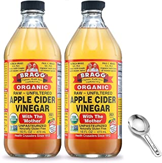 Bragg Organic Apple Cider Vinegar With the Mother, Raw Unfiltered All Natural Ingredients - 16 Fl Oz Pack of 2 w/ Custom ...