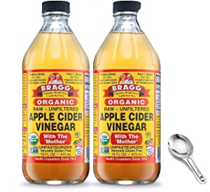 Bragg Organic Apple Cider Vinegar With the Mother, Raw Unfiltered All Natural Ingredients - 16 Fl Oz Pack of 2 w/ Custom F.O.Y Brand Measuring Spoon