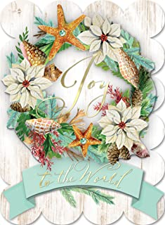 Punch Studio Joy Seashell Wreath Dimensional Holiday Boxed Cards Featuring 12 Embellished Cards and Envelopes (43359)