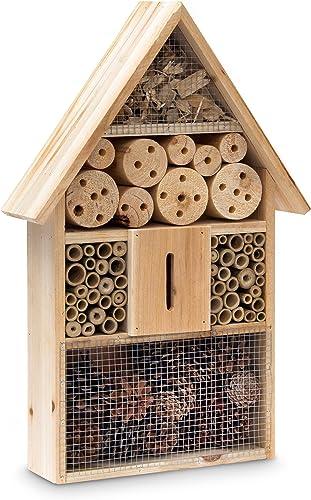 Relaxdays 10020085 Hôtel à insectes HxLxP 48x31x10 cm Abri en Bois pour Papillons Abeilles Coccinelles Guêpes Marron