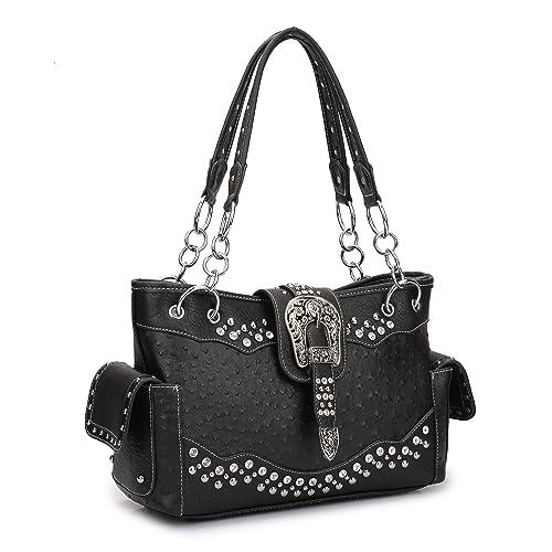 Women Western Handbags Purses Totes Rhinestone Studded Shoulder Bags With  Side Pockets 6862cdb845330