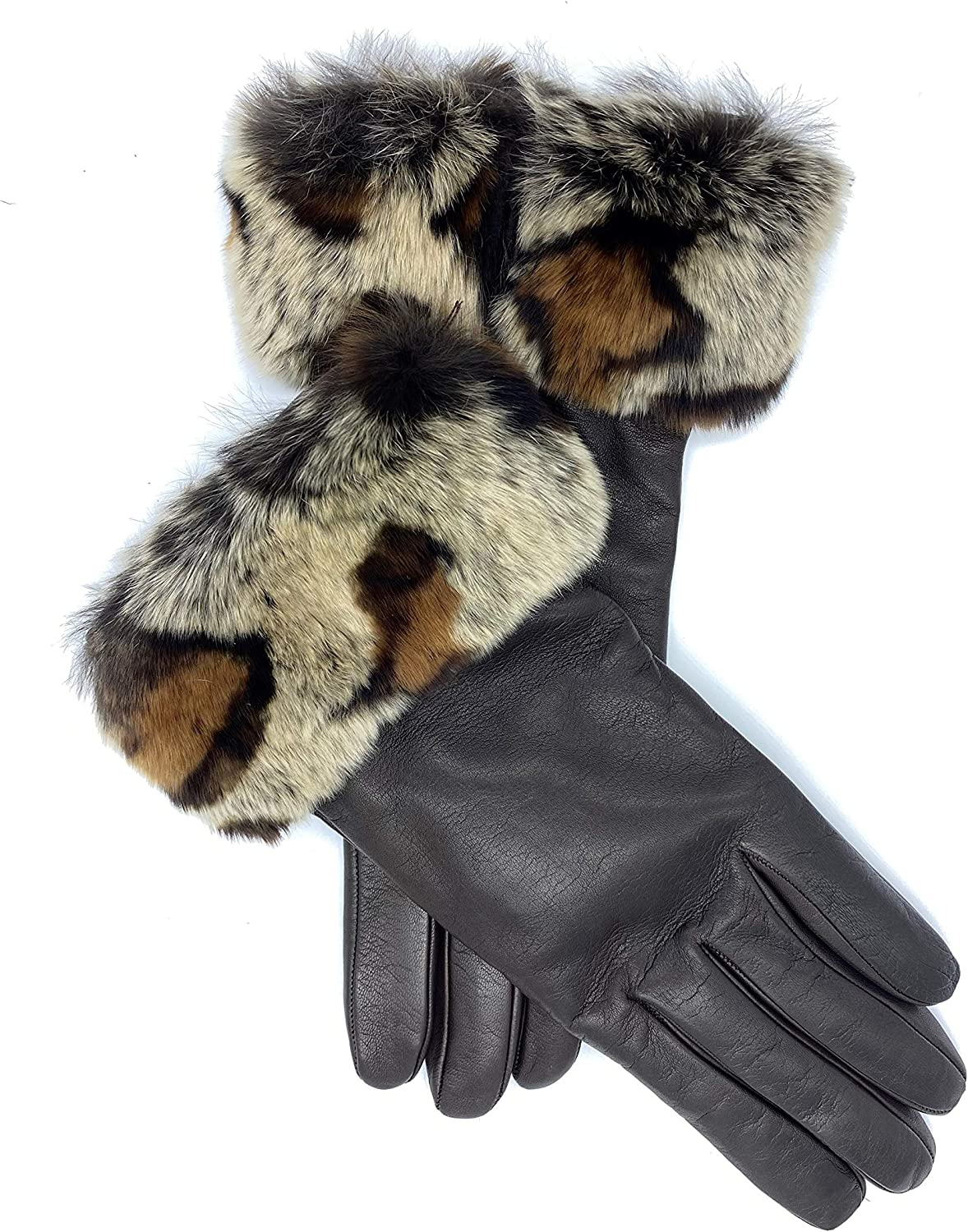 Women's Leather Gloves Made In Italy Rabbit Fur Cuff Cashmere Lined (Brown, M)