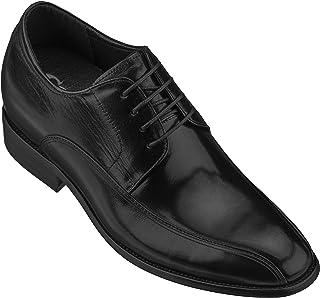 حذاء CALTO رجالي كاجوال لزيادة الارتفاع الارتفاع - حذاء أوكسفورد رسمي من الجلد الفاخر برباط - بطول 7 سم - Y1003