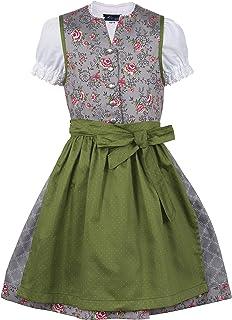 Ramona Lippert Kinder Dirndl für Mädchen - Kinderdirndl Priscilla in Grau mit Rosenprint - 3-teiliges Trachtenkleid - Trachtenmode - Tracht mit Schürze