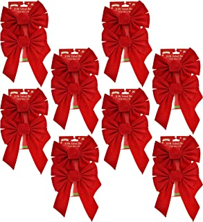 Set of 16 Red Velvet Festive Holiday Christmas Bows - Perfect as Tree Ornaments - Tree Filler - Decorative Ornaments - Perfect for Preparing for the Holidays! (16, Red Velvet)