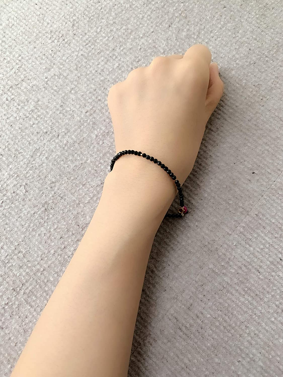 Black spinel hand chain for Women Rapid rise Gold shop Filled,7.87 inc 14K
