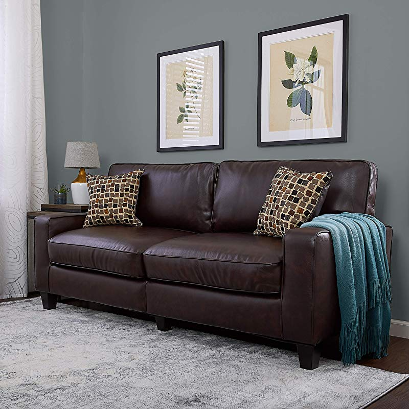Serta RTA Palisades Collection 78 Bonded Leather Sofa In Chestnut Brown