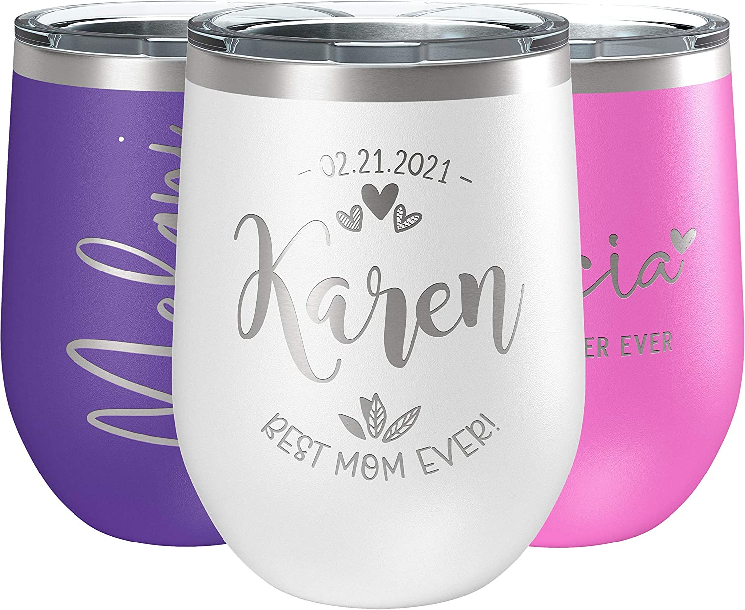 Personalized Wine Luxury Tumbler 12 oz White All stores are sold In Double Wall Vacuum -