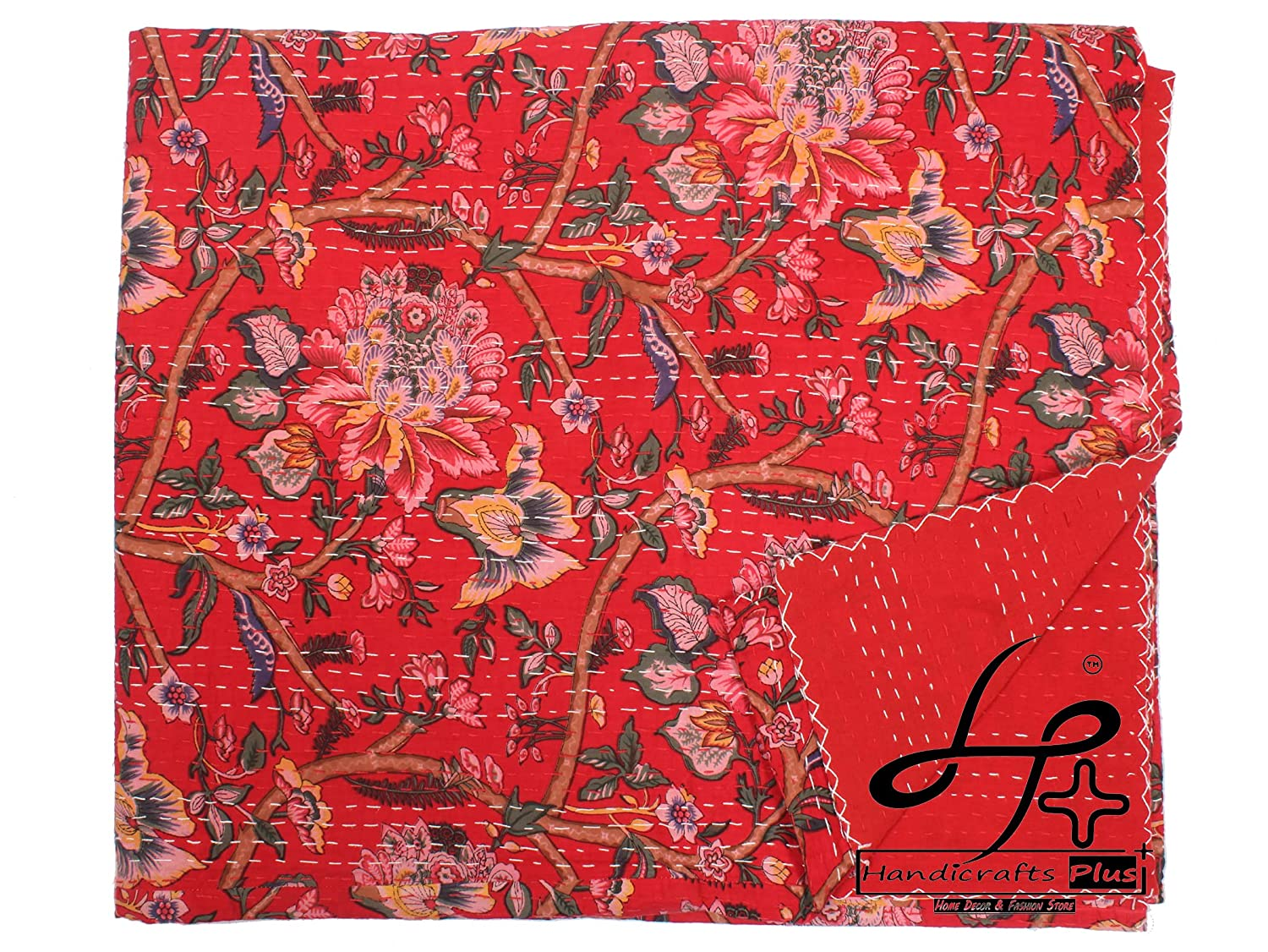 A Denver Mall surprise price is realized Handicrafts Plus King Size Kantha Bedsheet Quilt Cotton Handmade