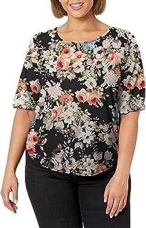 Star Vixen Women's Petite Elbow Sleeve Keyhole Back Shirttail Hem Top