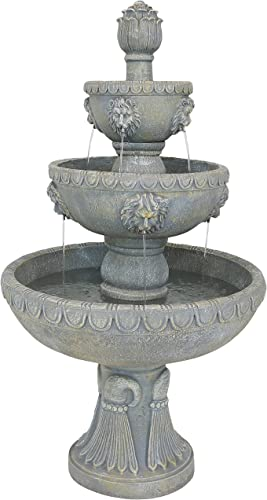 lowest Sunnydaze Lion Head Four Tier Water Fountain - Large Outdoor popular Waterfall Fountain for The Backyard, Patio, & Garden - 53 2021 Inch Tall outlet online sale