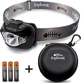 Explortek LED Headlamp Flashlight with Red and White Light Plus Travel Case – Super..