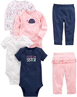 Baby Girls' 6-Piece Bodysuits (Short and Long Sleeve) and Pants Set