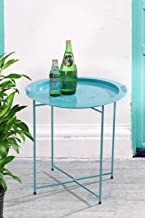 Sunjoy Steel Side Table with Removable Tray, Blue