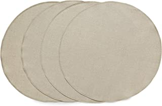 Solino Home Round Linen Placemats - 15 Inch Diameter, Natural - Vesta 100% Pure Linen Tablemat for Indoor and Outdoor use