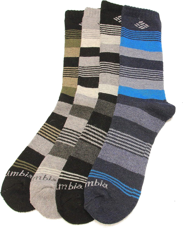 Columbia Men's Wool Crew Socks, Multi Assort, 4 Pair, Men's 6-12 Shoe/10-13 Sock